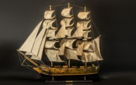 Fragata Siglo XVIII Impressive and Large Wooden 19th Century Spanish Model Sailing Ship of Excellent