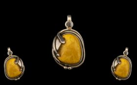 Butterscotch Amber/Bakelite Pendant. Art Nouveau design, hallmarks for Silver. Large size 4.