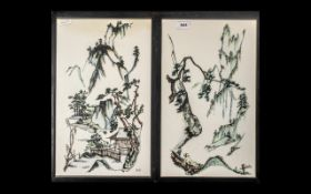 Pair of Japanese Pencil Paintings. Signed B.H. 17 x 10 Inches. Please See Photo.