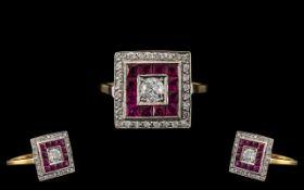 Art Deco Style Attractive and Good Quality Ruby and Diamond Set Ring of Square Form. The Larger