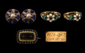 Collection of Jewellery Items. Comprises 1/ George III 9ct Gold and Black Jet Set Mourning