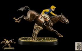 Beswick Hand Painted - Seated Jockey and Racehorse Figure ' Steeplechaser ' Model No 2505.