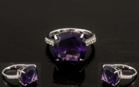 Amethyst Solitaire Ring, the 9ct square cushion cut amethyst, of a rich Royal purple colour,