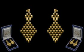 Ladies High Quality Pair of 18ct Gold Drop Earrings. Wonderful design and craftmanship with original