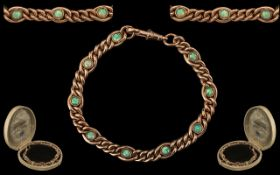 Antique Period Good Quality and Attractive 9ct Gold Bracelet Set with Nine Well Matched Opals.