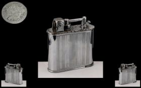 Jumo Art Deco Chrome 'Lancel Automatique' Petrol Cigarette Lighter, c1922, stamped Made in