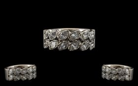 18ct White Gold Double Row Half Eternity Ring, set with Marquise Shaped Diamonds, estimated