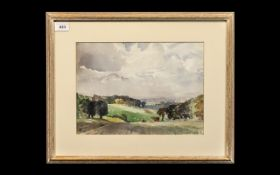 Watercolour by James Allen Hill - 'Cuerden Hall Park & Valley'. By Lancashire artist James Allen