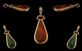 Antique Style Nice Quality and Large 9ct Gold Stone Set Pear Shaped Pendant Drop with Ornate