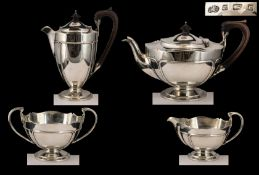 Art Nouveau Period Elkington & Co Superb Quality Sterling Silver ( 4 ) Piece Tea Service.