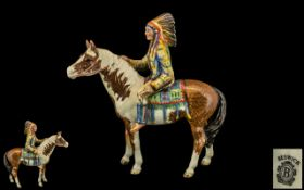 Beswick Hand Painted Mounted Indian Chief on Horseback ' Mounted Indian ' Model No 1391,