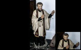 Italian Antique Plaster Figure of a Prie