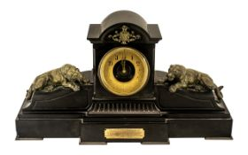 French Black Marble Antique Mantle Clock