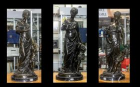 Large Bronze of Diana Holding Doves on h