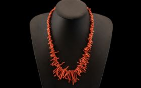 Early 20th Century Coral Necklace with G
