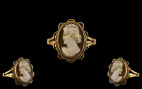 Ladies 9ct Gold Mounted Cameo Ring with