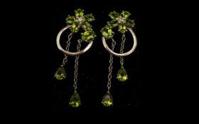 Peridot Cluster and Long Drop Earrings,