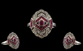 18ct White Gold - Attractive Art Deco Style Ruby and Diamond Set Dress Ring.