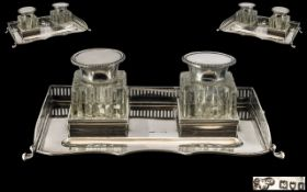 Edwardian Period - Superb Quality Matched Twin Inkwell and Stand for a Gentleman's or Ladies Desk,