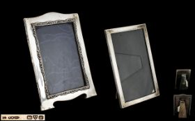 Early 20th Silver Photo Frame, Of Rectangular Form With Fine Engraved Greek Key Design,