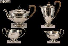 Art Nouveau Design Superb Quality Sterling Silver ( 4 ) Piece Tea Service. Of Wonderful Design and