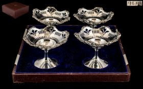 Edwardian Period - Excellent Quality Cased Set of Four Sterling Silver Tazza's,