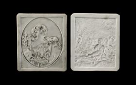 Pair of Antique Porcelain Lithophane German Plaques Depicting a Lady Carrying Flowers and a Lady In