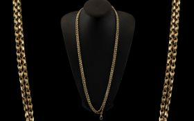 Victorian Period Superb 9ct Gold Muff Chain of Fancy Double Link. Marked 9ct.