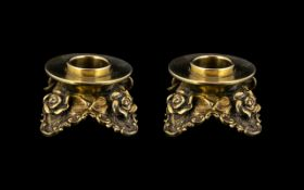 Austria - Hungarian Rococo Revival Pair of Fine Cast Silver Gilt Squat Candle Holders with Roses