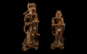 Pair of Small Chinese Antique Carved Root-Wood Figures of Dietys, With Inlaid Horn Eyes, Carved on