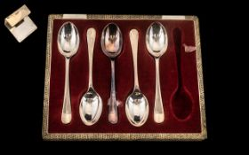Box of 5 Plated Tea Spoons together with a business card holder. Please see images.
