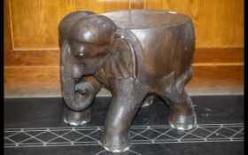 Large Elephant Stool, Carved From A Single Trunk, Realistically Modelled, Height 19 Inches,