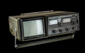 Japanese Crown Portable Radio - Television Receiver WHF-MW-LW 3 Band Radio / AC Dry Cell-Car Batt.