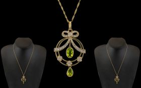 Edwardian Period Ladies 9ct Gold Attractive Diamond and Peridot Set Pendant,