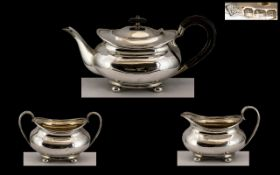 George V - Gentleman's Bachelors 3 Piece Sterling Silver Tea Service of Excellent Proportions /
