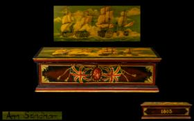 A Reproduction Handpainted Battle of Trafalgar Painted Box depicting the naval battle in 1805.