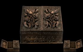 Antique Burmese Profusely Carved Writing Box with Open Flap Sides,