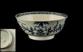 Worcester 1st Period Blue Decorated Bowl Depicting a Bird Sitting on a Branch with Flowers,