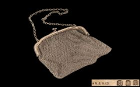 George V - Early Period 1911 - 1936 Ladies Sterling Evening Chain-Mail Purse / Bag with Chain and