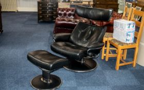 Black Leather Stressless Chair and Stool