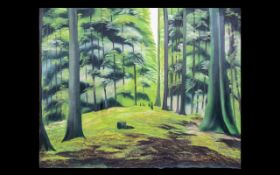 Wall Art Unframed Modern Print on Canvas - by an Iranian artist. Forrest scene.