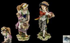 Saxon Porcelain Factory Potschappel Pair of Fine Quality Carl Theme Hand Painted Porcelain Figure.