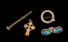 Misc Lot of a Gold Plated Cross, Enamel and Silver Garter Collar Brooch, Gold Metal Tooth Pick,