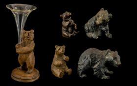Group of Black Forest Antique Carved Linden Bears,