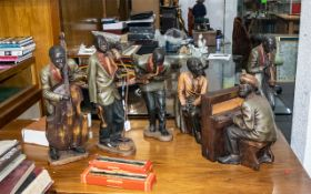 Set of Six Vintage Decorated Resin Figures of a Black Jazz Band, of large size, comprising Piano/