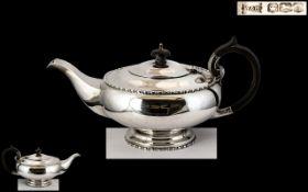Walker and Hall - Superb Alladins Lamp Shaped Sterling Silver Teapot of Pleasing Design / Form.