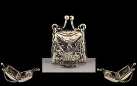 Novelty Art Nouveau Pill Box In The Form of a Hand Bag, Lovely Art Nouveau Design,
