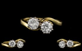 18ct Gold - Superb Quality Two Stone Diamond Ring - Twist Over Design.