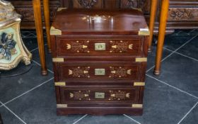 Rosewood Brass Inlayed Indian Colonial Campaign Chest,