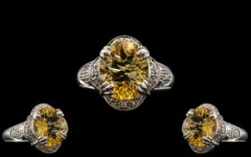 Ladies - 9ct White Gold Attractive Citrine and Diamond Set Dress Ring with Full Hallmark for 9.375.